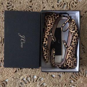 J Crew Sally ballet flat calf hair leopard print
